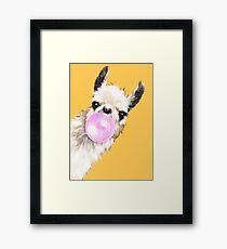 Bubble Gum Sneaky Llama in Mustard Yellow Framed Print