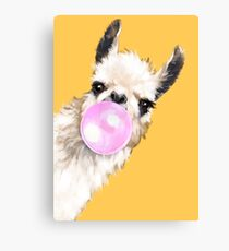 Bubble Gum Sneaky Llama in Mustard Yellow Canvas Print