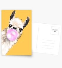 Bubble Gum Sneaky Llama in Mustard Yellow Postcards