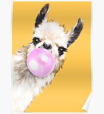 Bubble Gum Sneaky Lama in Senfgelb Poster
