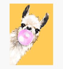 Bubble Gum Sneaky Llama in Mustard Yellow Photographic Print