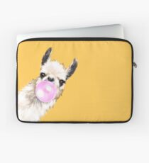 Funda para portátil Bubble Gum Sneaky Llama en amarillo mostaza