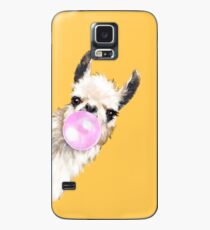 Bubble Gum Sneaky Llama in Mustard Yellow Case/Skin for Samsung Galaxy