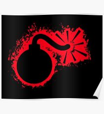 Blast bomb red and black silhouette Poster