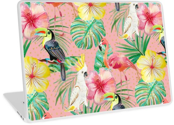Tropical bird palm leaf print pattern by jmac111
