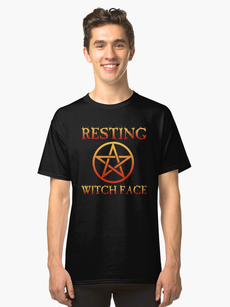 Resting Witch Face T-Shirt Funny Halloween Pentagram Vintage Classic T-Shirt Front