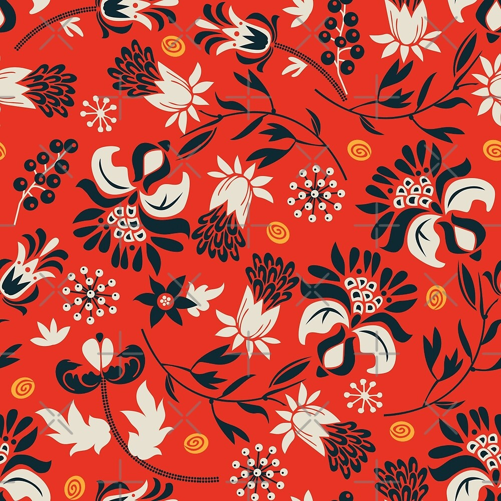 Victorian floral | red by camcreativedk