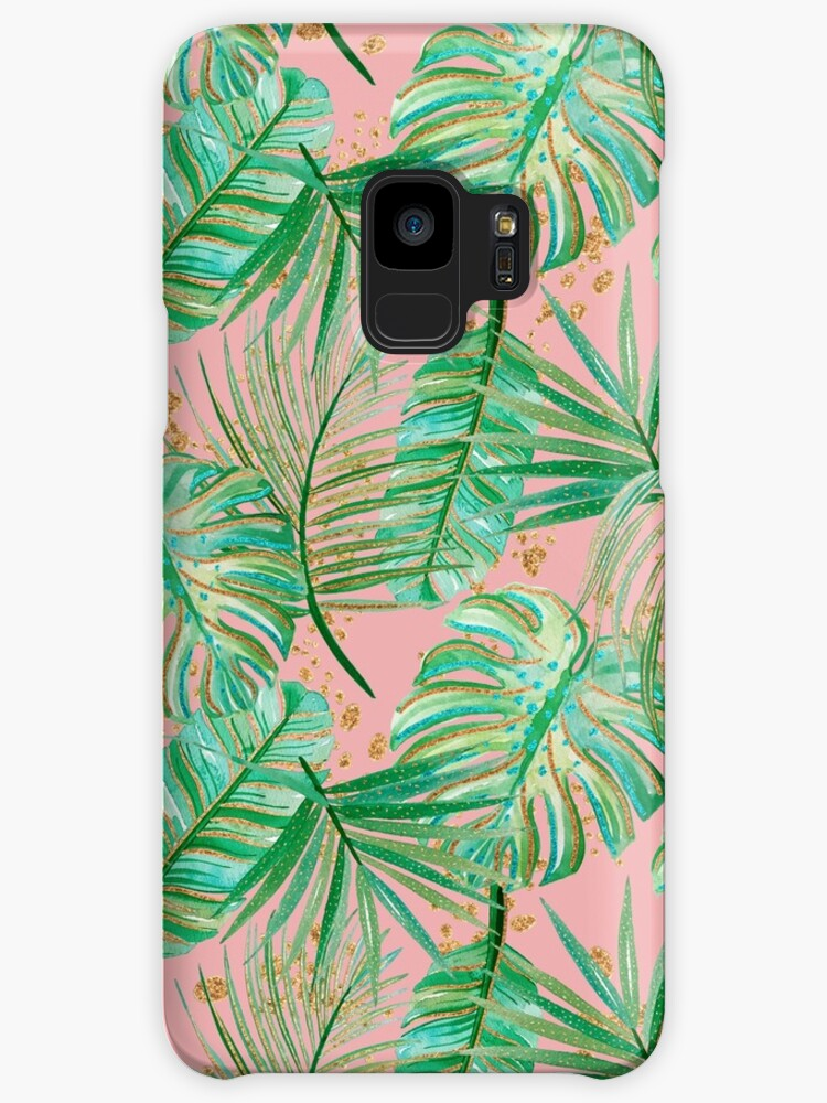 Pink and Green Tropical Palm Frond Print Pattern by jmac111