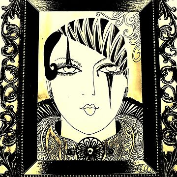 ART DECO PIERROT DOLLY IN PICTURE FRAME by jacquline8689