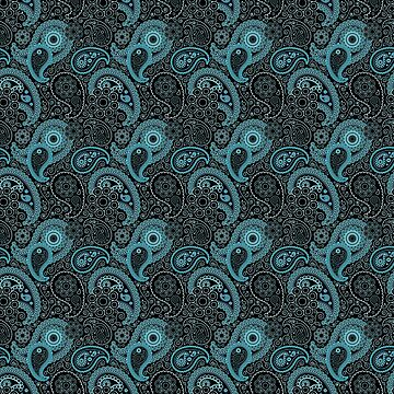 Blue and Black Paisley Pattern by Greenbaby