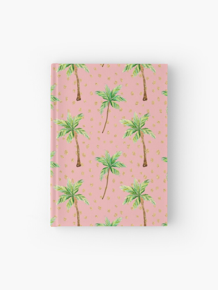 Peach Pink and Green Palm Tree Pattern with glitter   Hardcover Journal