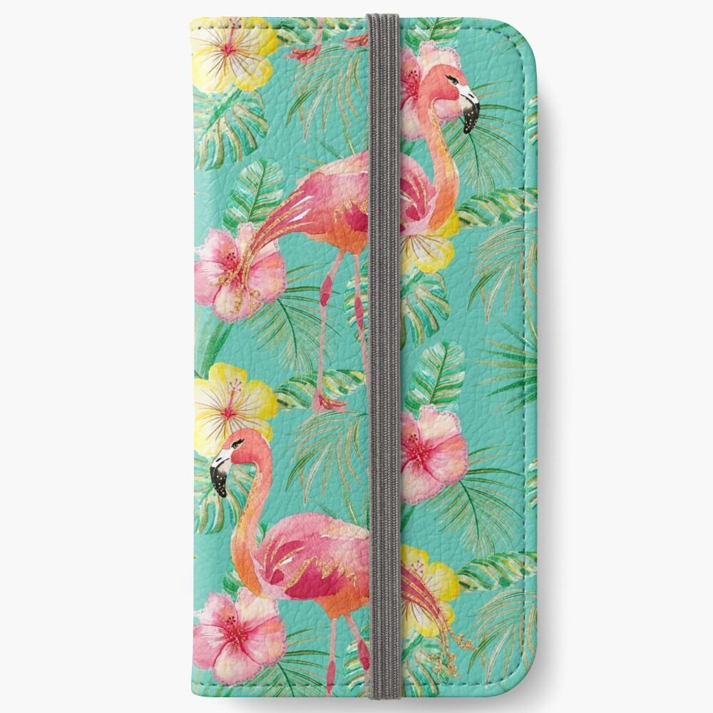 Grünes Türkisflamingo-Hibiskus-Glitter-Druckmuster iPhone Flip-Case