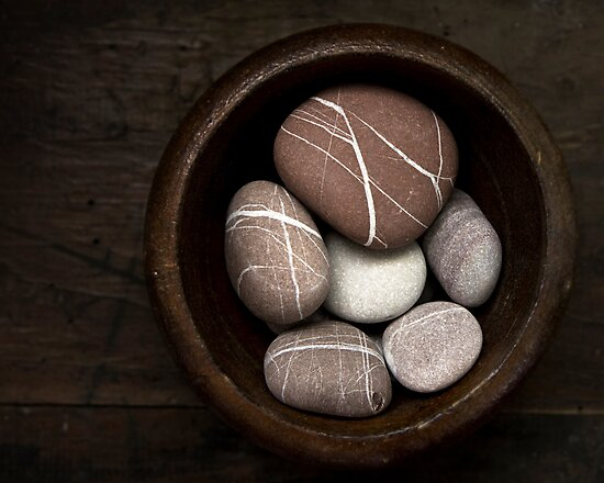 Pebbles in a Wooden Bowl by Sue Hammond