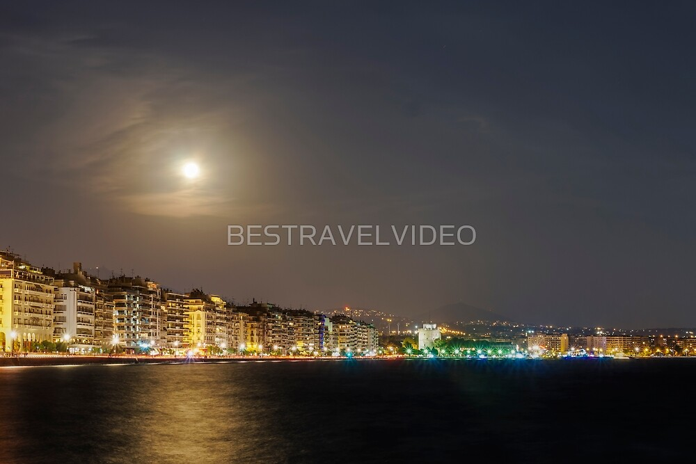 August full moon over Thessaloniki, Greece waterfront.  by BESTRAVELVIDEO