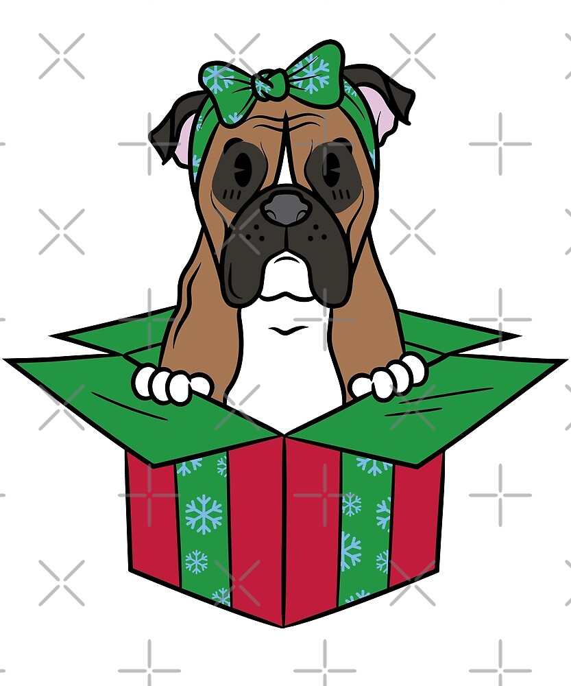 Funny Boxer Dog Xmas Present Christmas by ilovepaws