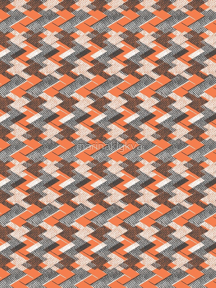 Geometric gray, orange pattern. by marinaklykva