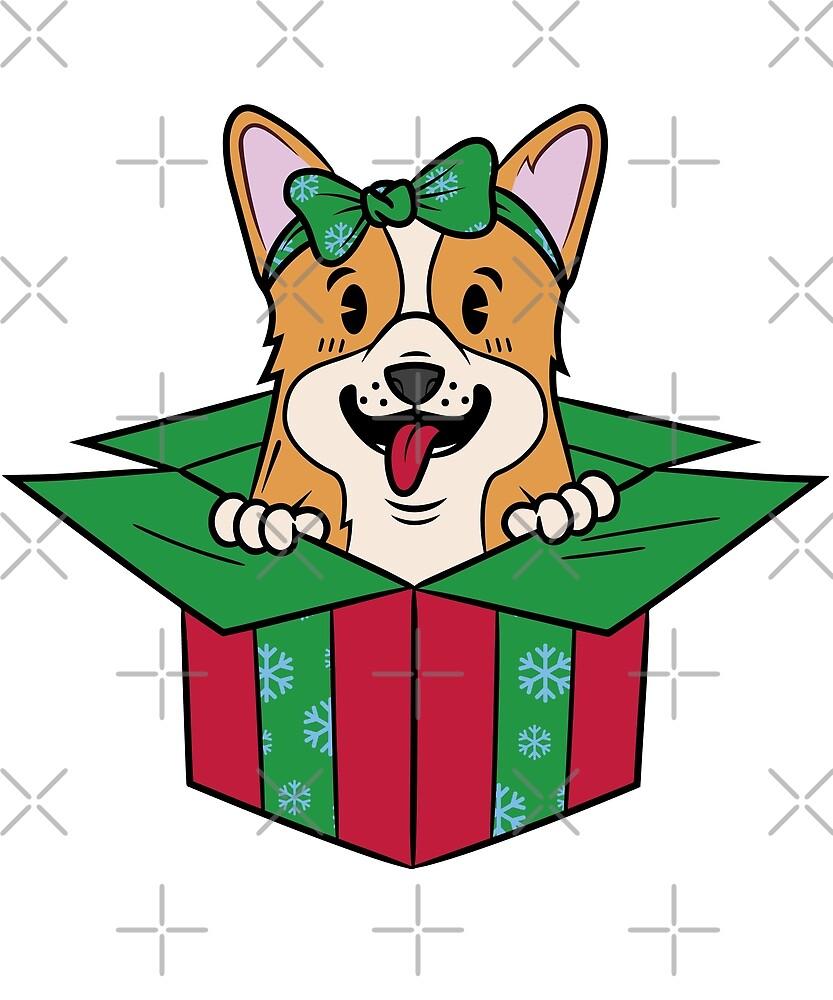 Funny Corgi Xmas Present Christmas by ilovepaws