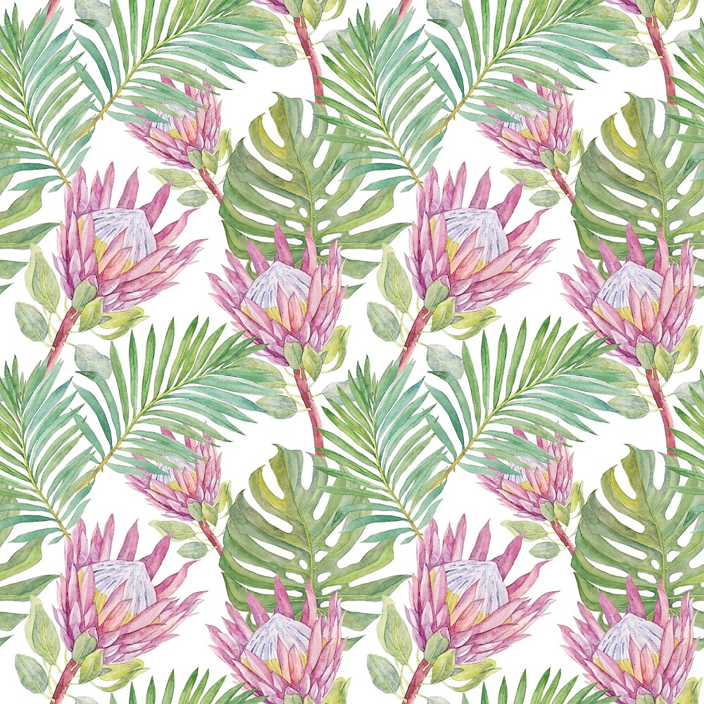 Watercolor pattern with flowers of protea. by Milkspace