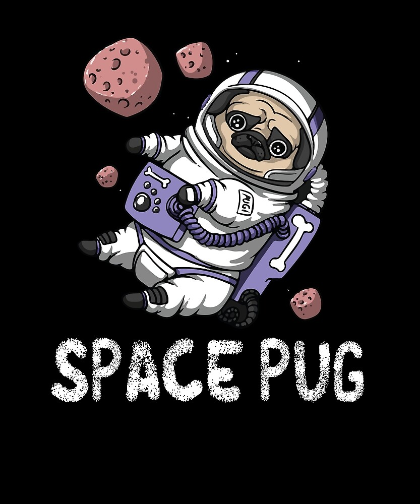 Cute Space Pug T Shirt Funny Outer Space Dog by chihai