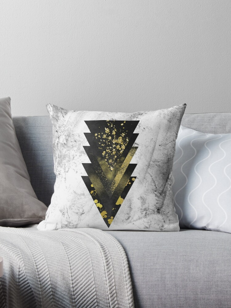 Arrow of Focus | Black and Gold Triangles on Grunge by cadinera