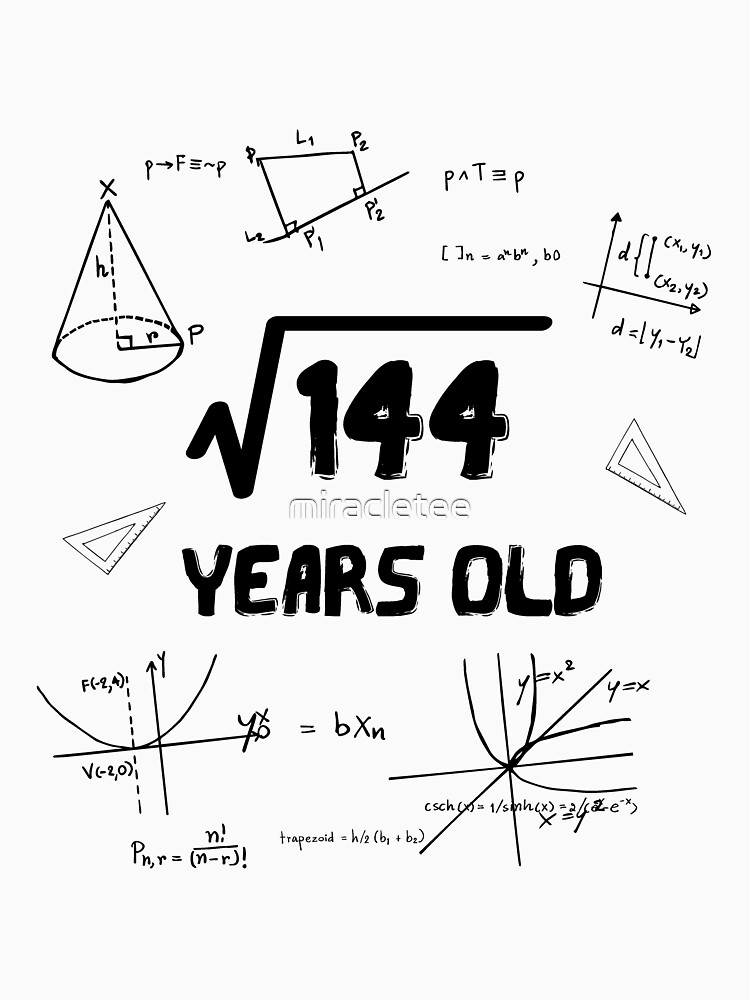 Square Root Of 144 12th Birthday  by miracletee