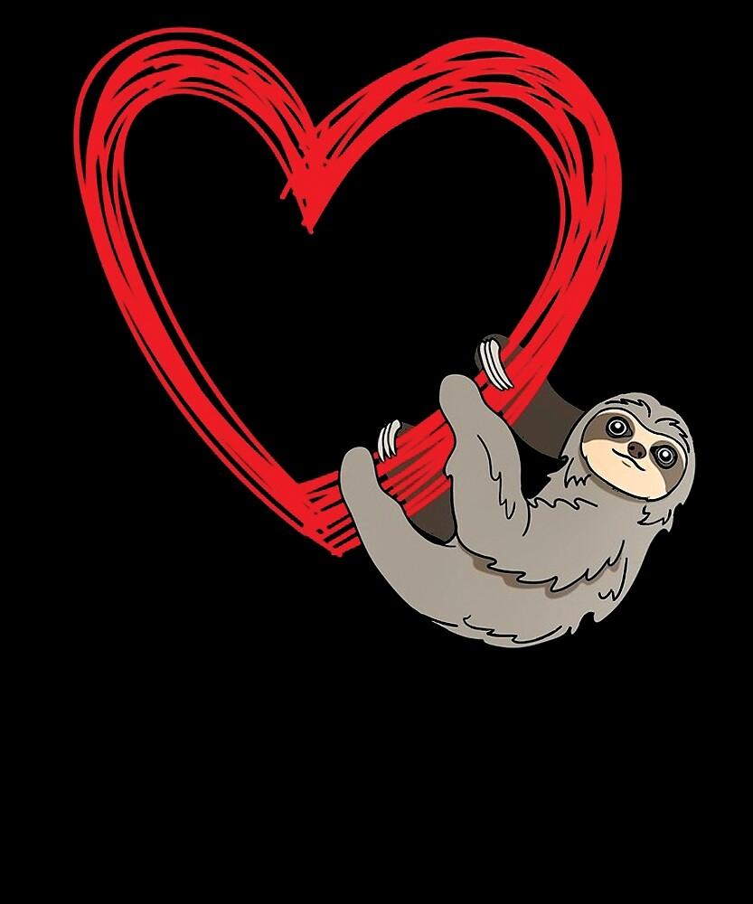 Kids Sloth Heart Shirt Women Girls Love Lazy Sloths Gifts by chihai