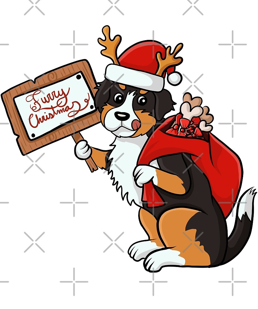 Funny Bernese Mountain Dog Furry Xmas Sign Christmas by ilovepaws