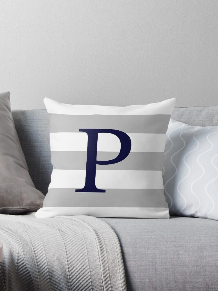 Silver Gray Stripes Navy Blue Monogram P by rewstudio