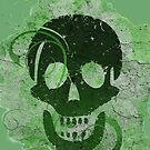 Decorative grunge skull green by Anteia
