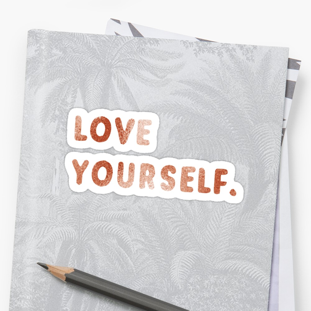 Love Yourself Rose Gold Sparkles by cadinera