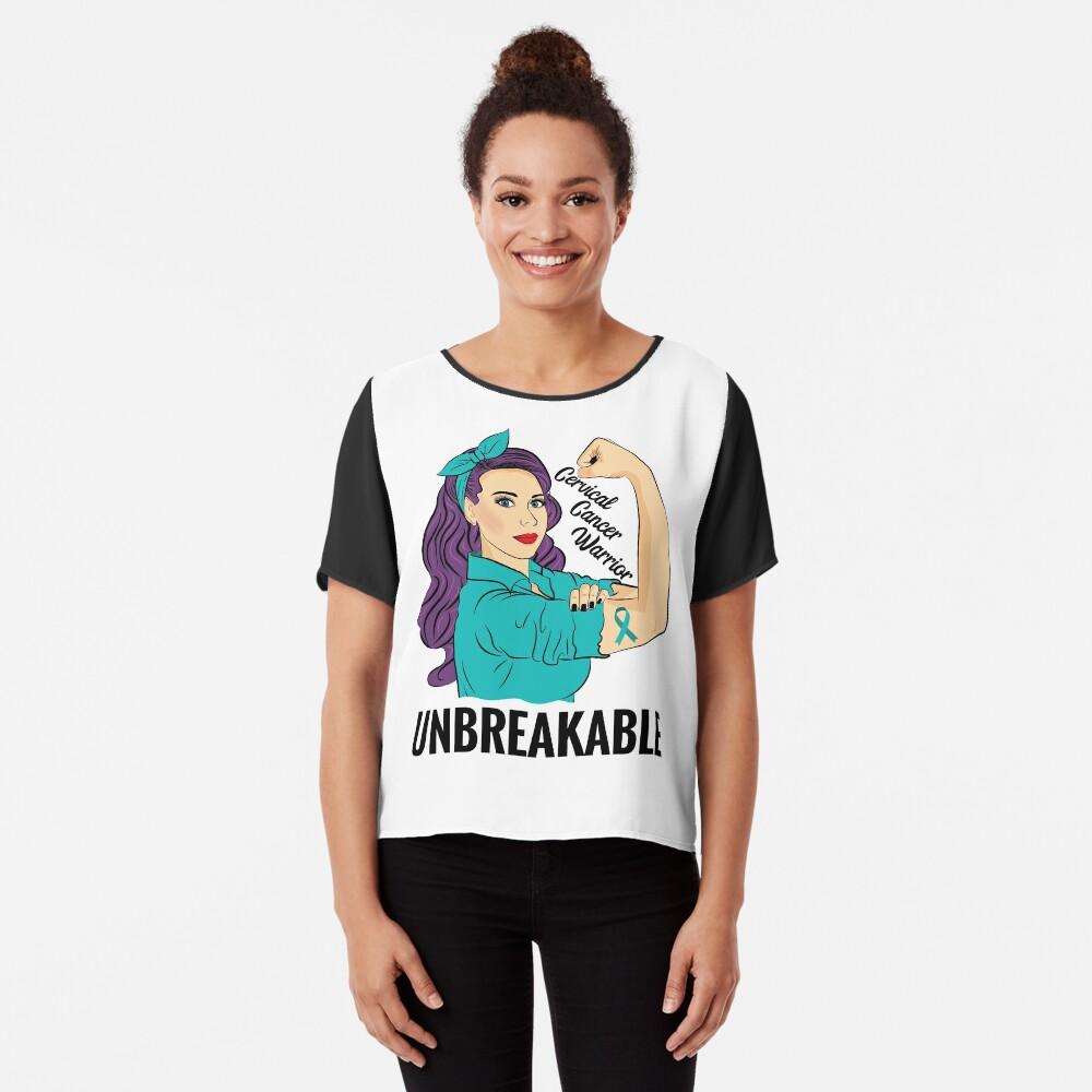 Cervical Cancer Warrior Unbreakable Awareness T-Shirt Women's Chiffon Top Front
