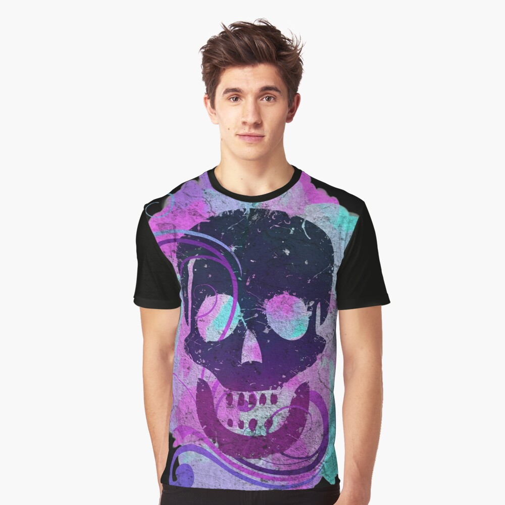 Decorative grunge skull distressed Graphic T-Shirt Front