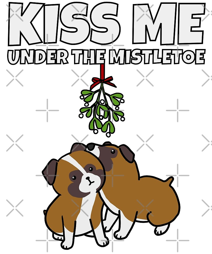 Funny Boxer Dog Kiss Me Under The Mistletoe Christmas by ilovepaws