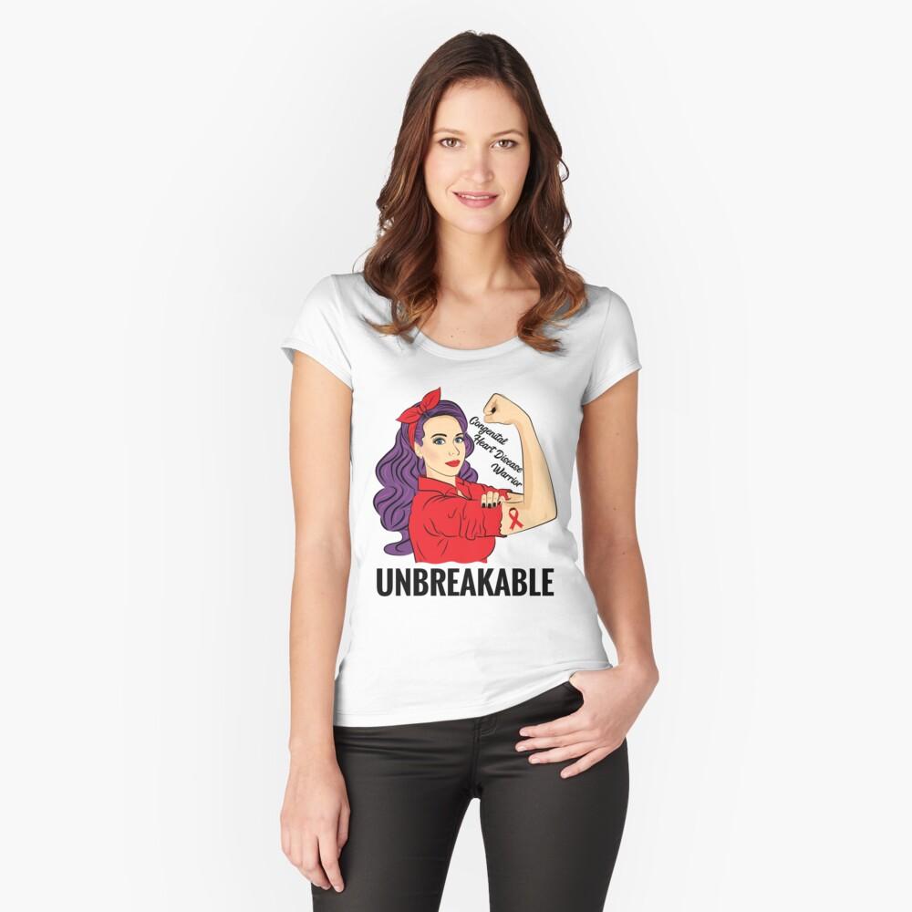 Congenital Heart Disease Shirt Awareness Warrior Unbreakable Women's Fitted Scoop T-Shirt Front