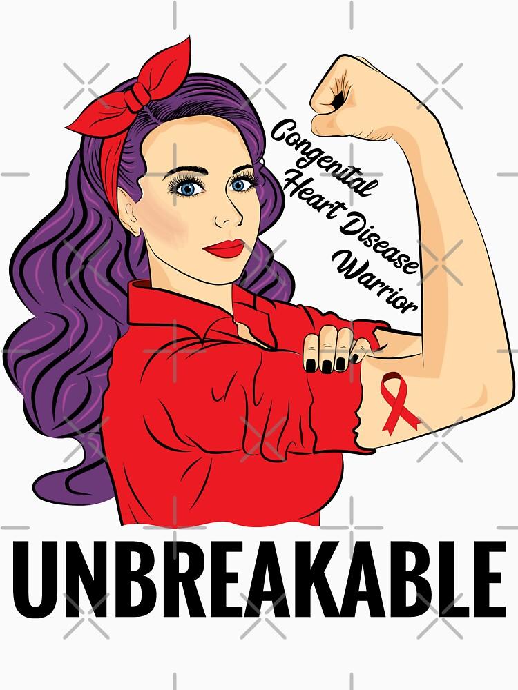 Congenital Heart Disease Shirt Awareness Warrior Unbreakable by ZNOVANNA