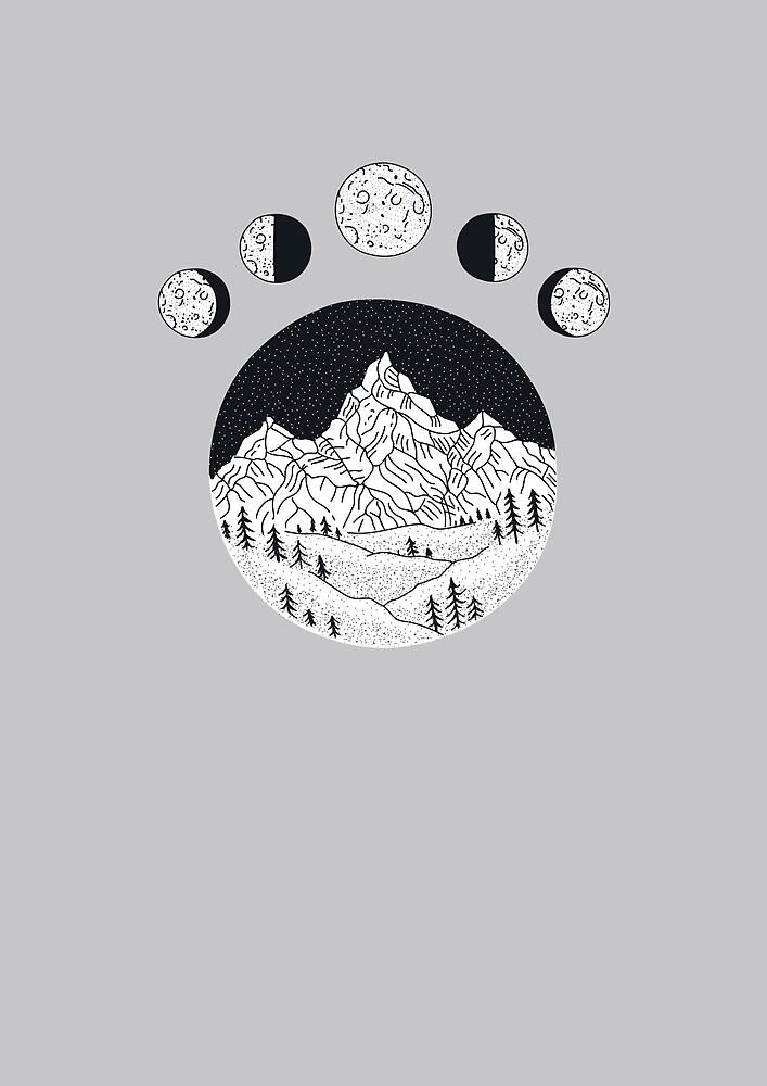 moon mountain black and white by Binooo