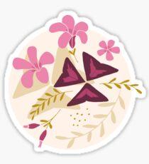 Purple Shamrock Floral Layered Pattern / Cream Sticker