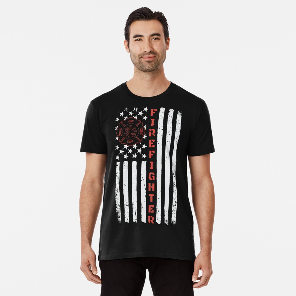 Thin Red Line American Flag Fire Dept Men's Premium T-Shirt Front