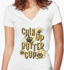 Chin Up Butter Cup Fitted V-Neck T-Shirt