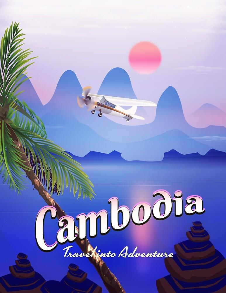 Cambodia vintage flight poster. by vectorwebstore