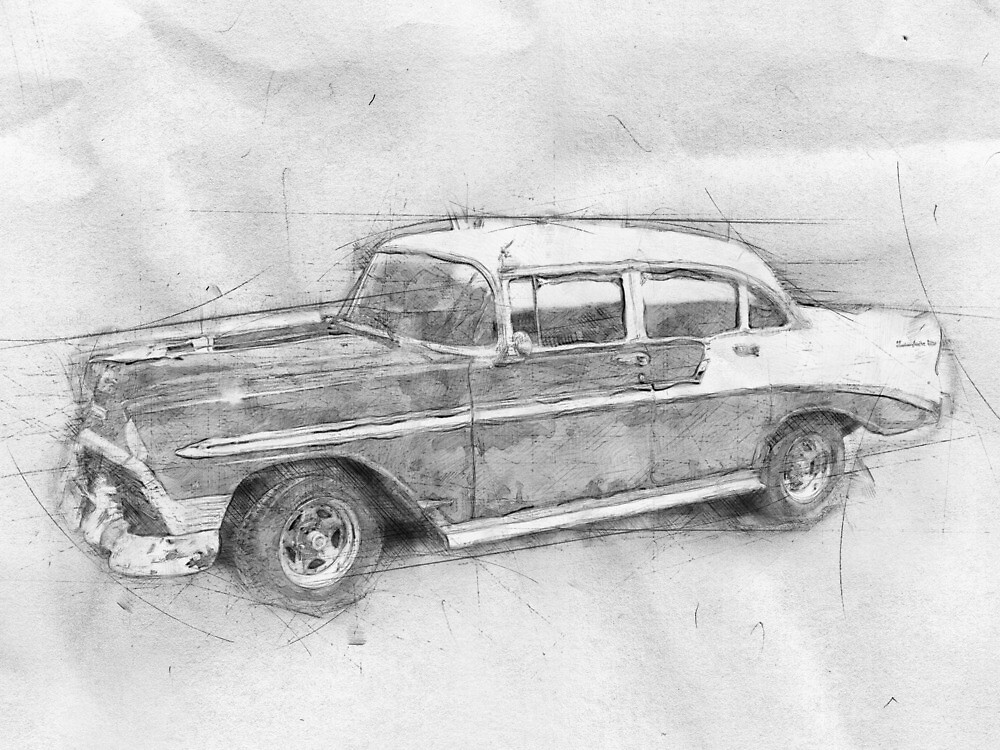 Classic car on the street. Old car Cuba. Drawing by jacekd