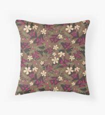 Purple Shamrock Floral Layered Pattern / Brown Throw Pillow