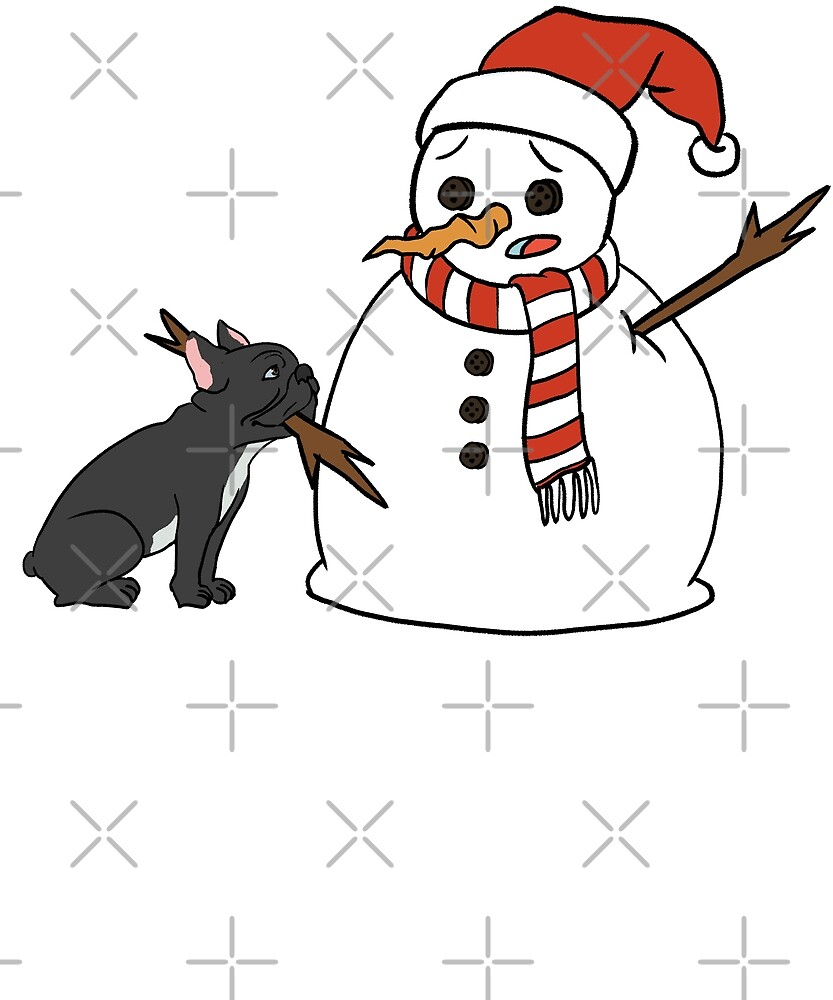 Funny French Bulldog Playing With Snowman Christmas by ilovepaws