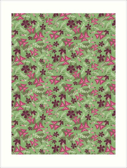 Purple Shamrock Floral Layered Pattern / Green by Markéta Stengl