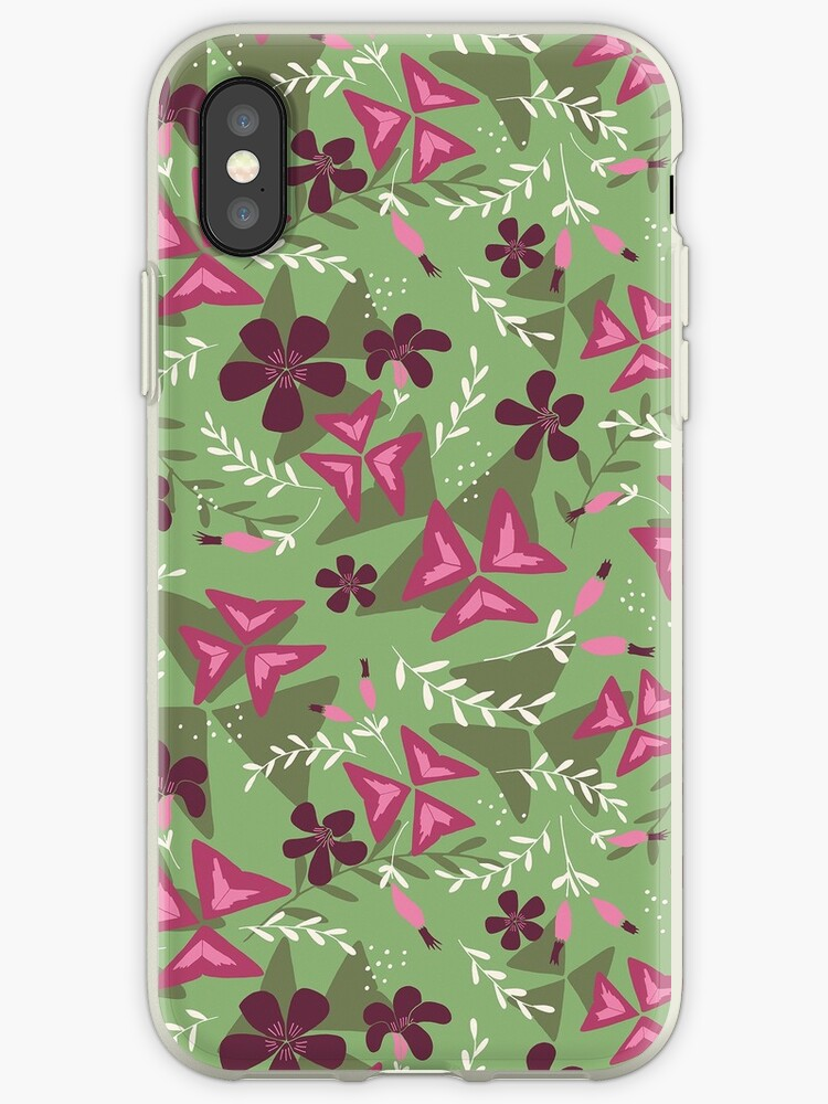 Purple Shamrock Floral Layered Pattern / Green by Markéta Stengl