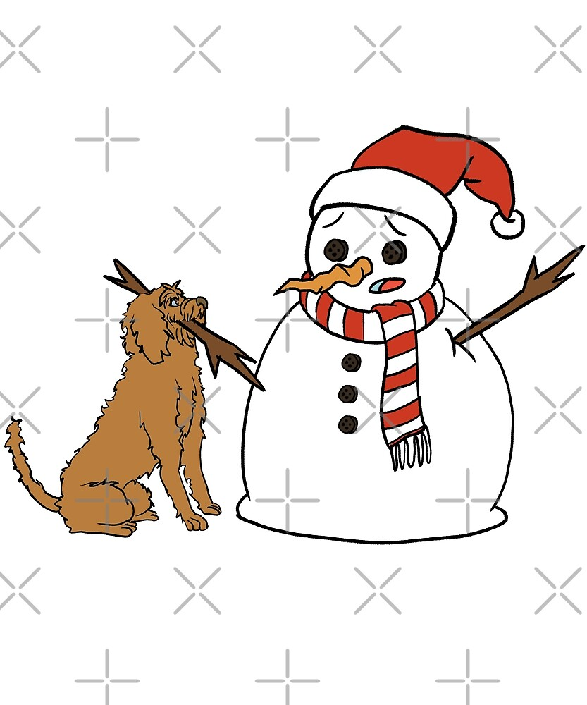 Funny Goldendoodle Playing With Snowman Christmas by ilovepaws