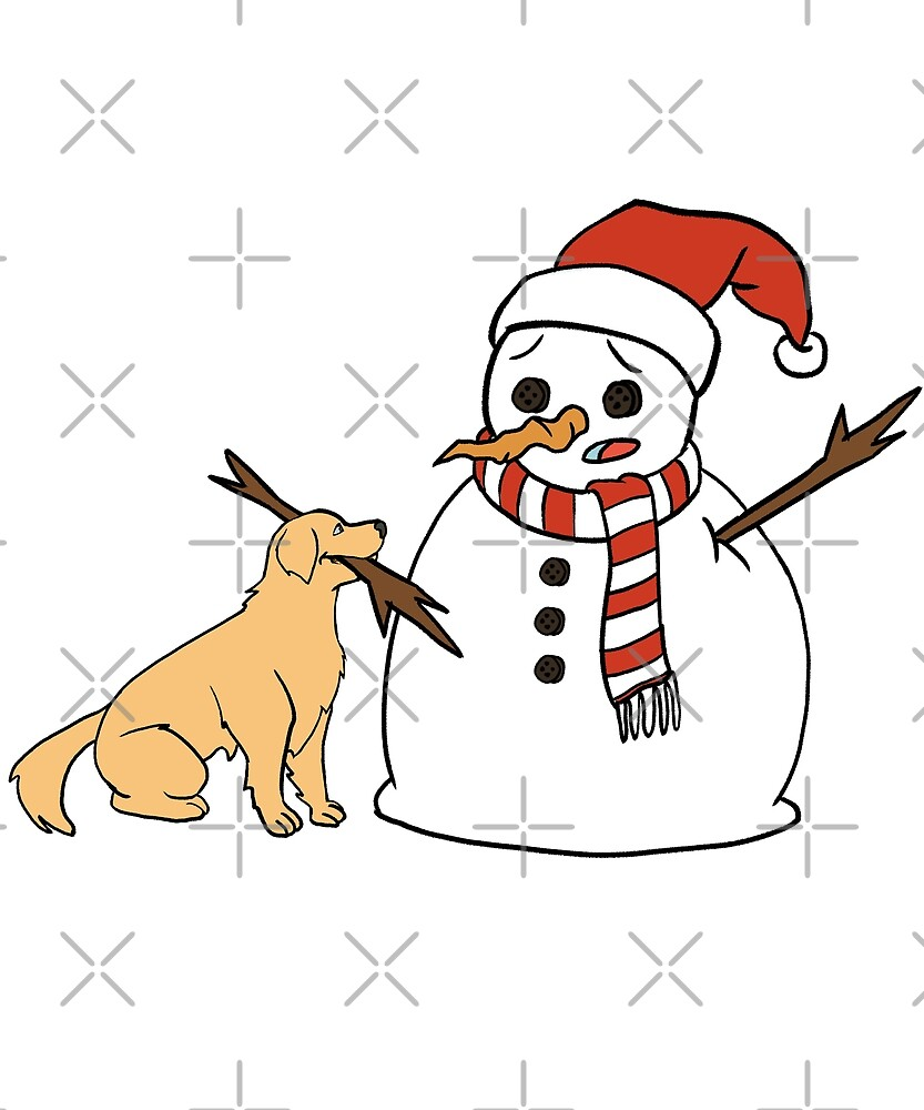 Funny Golden Retriever Playing With Snowman Christmas by ilovepaws