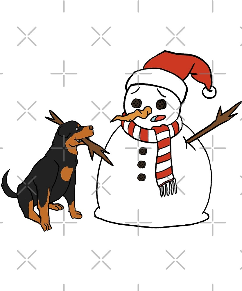 Funny Rottweiler Playing With Snowman Christmas by ilovepaws