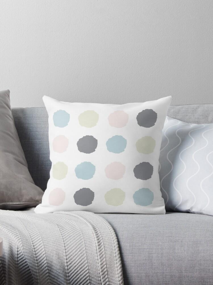 Blurred dots in pale blue, pale pink, pale grey, pale lime by kierkegaard