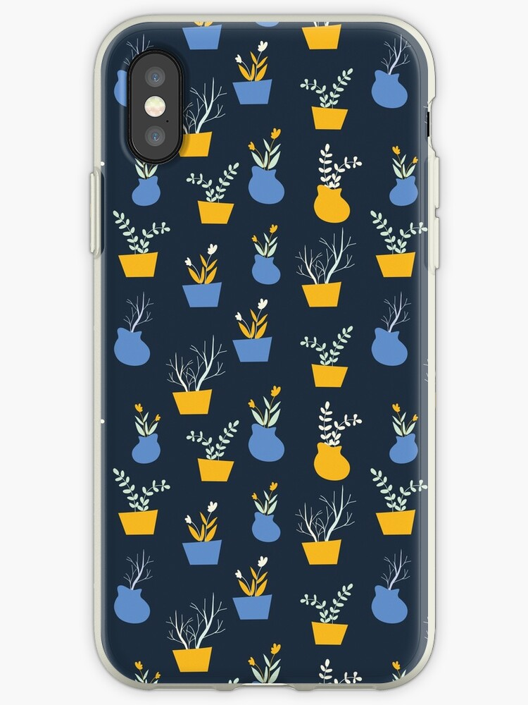 Potted Plants Floral Pattern in Yellow and Blue by mchristyani